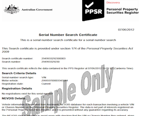 PPSR Sample Certificate